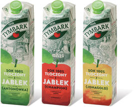 Tymbark apple juices made from the varieties Antonowka, Champion and Jonagold
