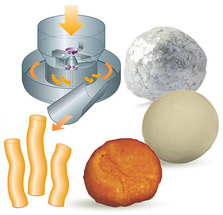 Pelletization of powders and liquids into compact, round pellets