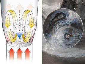 Bottomsprayverfahren – Wursterrohr mit Sprühdüse im Zentrum