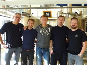 Marc Goebel (Braumeister Maisel & Friends), Duff Wallace (Braumeister Warpigs Brewpub), Jeff Maisel (Inhaber Brauerei Gebr. Maisel),  Mikkel Borg Bjergsø (Inhaber Mikkeller Brewery), Michael König (Biersommelier Maisel & Friends)