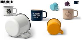 Emaille-Tassen und -Becher bedrucken - Bild-Beispiele Farben und Bedruckung