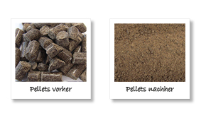 Feed pellet sample before and after grinding