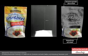 Rund 83 Prozent der Packung des Mondamin Lieblingsgrießbreis von Unilever ist ohne Inhalt. Das Produkt schnitt in der Stichprobe am schlechtesten ab.