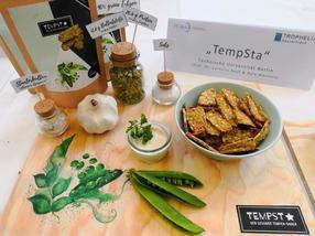 Proteinreich, knusprig-lecker und zu 90 Prozent aus regional angebauten Erbsen: Das ist der Tempeh-Kräcker
