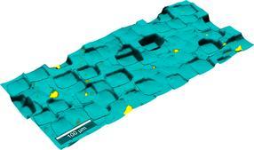 Topographisches Raman-Bild einer Silizium-Mikrostruktur.