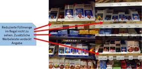 Die Werbeleiste von Lindt verdeckt in vier Filialen verschiedener Händler die geschrumpfte Inhaltsmenge von 80 Gramm.