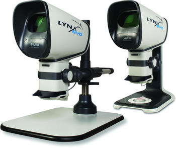 The microscope is modular and available in different configurations. Here as an example multi-axis stand with base plate or ergo stand.