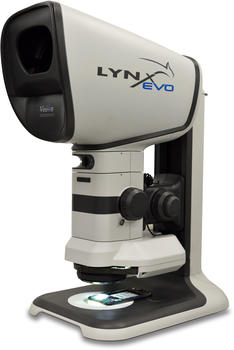 Stereo microscope Lynx EVO in the ergo stand configuration with 360° rotating viewer, for the analysis inspection also in medical device.