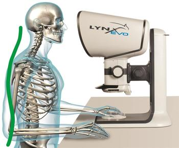 The ergonomic working posture and freedom of movement of the head reduces neck and back problems, which often occur with conventional microscopes.