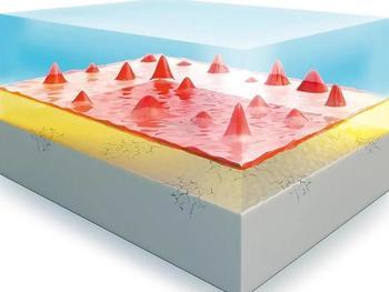 Inhomogenitäten in der äußeren SEI-Schicht (rot) führen beim Laden zu unterschiedlichen Lithium-Anteilen in der Silizium-Anode (gelb/grau), sodass es zu Rissen und anderen Defekten kommt.