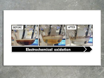 Water before and after electrochemical treatment.