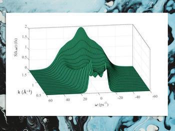 Aus Molekulardynamik-Simulationen berechneter dynamischer Strukturfaktor von flüssigem Gallium.