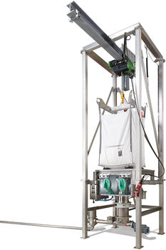 Big bag emptying station in OEB3 design with hoist and dosing screw