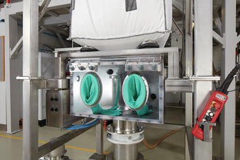 The glovebox protects the operator from harmful products