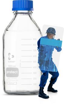 PROTECTIV: DURAN® PROTECT Laborflasche GL 45 aus Klarglas, kunststoffummantelt, mit Schraubverschluss und Ausgießring aus PP