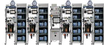 Bioreaktoranlage BTP-control - Bioreaktoranalage mit Gasanalysetechnik und Pumpenmodulen (feed; discharge, pH-control)