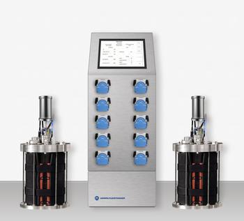 BTP-steril-control - autoklavierbare Bioreaktoranlage mit Pumpenmodulen (feed; discharge, pH-control) und Begasungstechnik