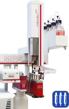 The MPS performs sample clean-up by Solid Phase Extraction (SPE) using standard dimension cartridges as well as Filtration and Centrifugation