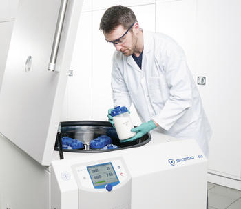 The high-performance centrifuge features impressive capacity of up to 12 x 1,000 ml in a swing-out rotor or 6 x 1,000 ml in a fixed- angle rotor.