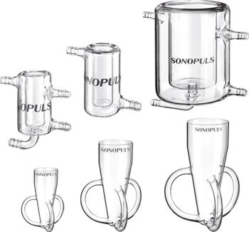 Diverse sonication vessels in various shapes and sizes