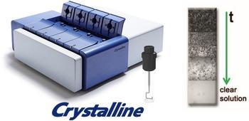 Die Kameras des Crystalline halten nach Zugabe des Lösungsmittels die Auflösung der Kristalle über die Zeit fest. Lösungsmittelzugabemethode (SA).