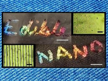 Nanostructures (yellowish-green images; scale bar, 5 μm) were patterned onto dried corn syrup films, producing edible, rainbow-colored holograms (scale bar, 2 mm).