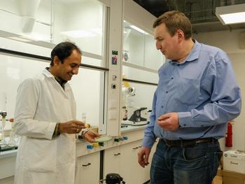 Rammohan Aluru und Grigoriy Zyryanov sind eine Gruppe von Wissenschaftlern, die essbare Lebensmittelfolien auf der Basis von Seetang (abgestreifte Lösung von Ferulasäure und Natriumalginat in einer Petrischale) entwickelt haben.