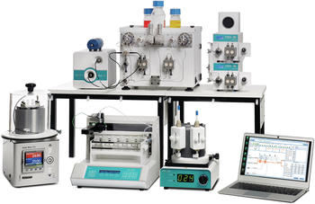 4-channel flow chemistry system for reaction optimization with temperature controllers, heating and cooling units,online UV-Vis detector and Fraction collector.