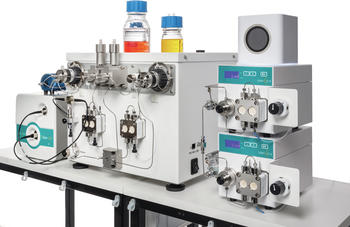 Close-up of a FlowLab Plus flow chemistry system