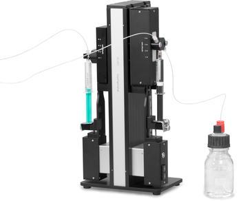 Flüssigkeitsdosiersystem für die Zutitration von Säuren oder Basen zur pH-Wert-Variation bei der automatisierten Ermittlung des Isoelektrischen Punkts