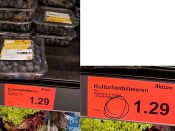 Bei diesen Heidelbeeren müsste ein Grundpreis pro 100g oder 1kg angegeben werden.