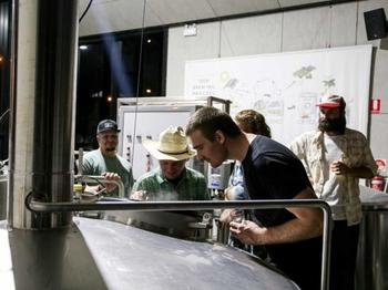 Sully and Timmy up on the brew deck
