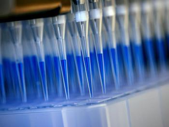 Blau eingefärbtes Abstrichmaterial von Corona-Tests wird mithilfe eines Laborroboters für die Analyse in einem Sequenzierungsgerät vorbereitet.