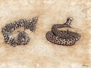 Künstlerische Darstellung der auffälligen Ähnlichkeit der Struktur von HUWE1 mit einer Klapperschlange.