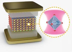 Ilustración de un cristal de SrTiO₃ incrustado en una cavidad óptica. El zoom microscópico (derecha) en una celda unitaria del cristal muestra el movimiento del átomo de titanio con respecto a los átomos de oxígeno.