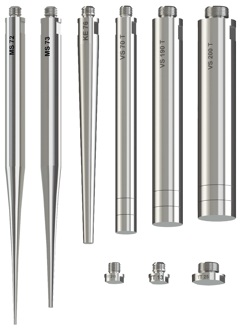 Selection of probes, partially with immersion depth markings